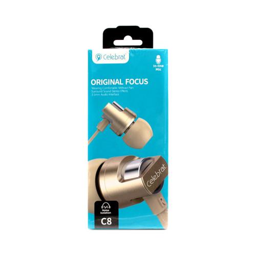 Наушники с микрофоном C8 золотой CELEBRAT