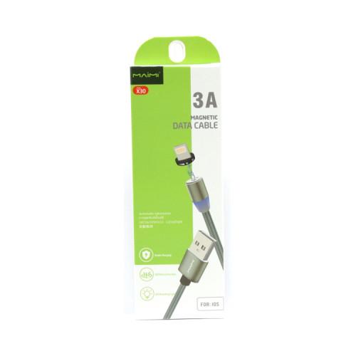 Кабель магнитный Lightning USB X30 3A черный MAIMI