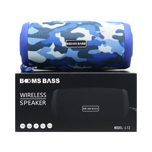 Портативная колонка L12 камуфляж синий BOOMS BASS