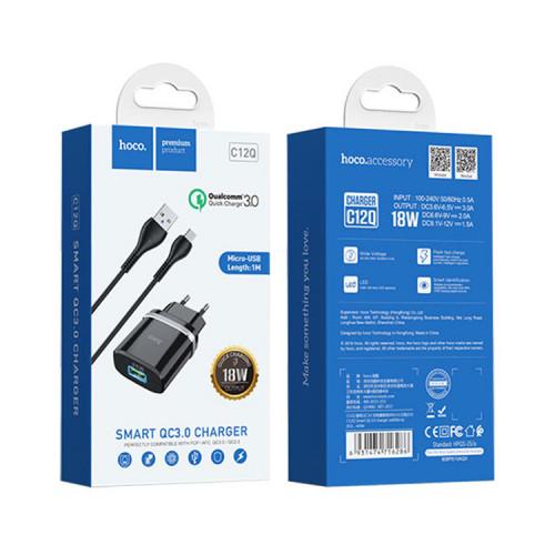 СЗУ 1USB C12Q QC3.0 + кабель Micro USB черный HOCO