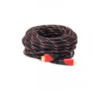 Кабель HDMI 15M (в оплетке) красно-черный