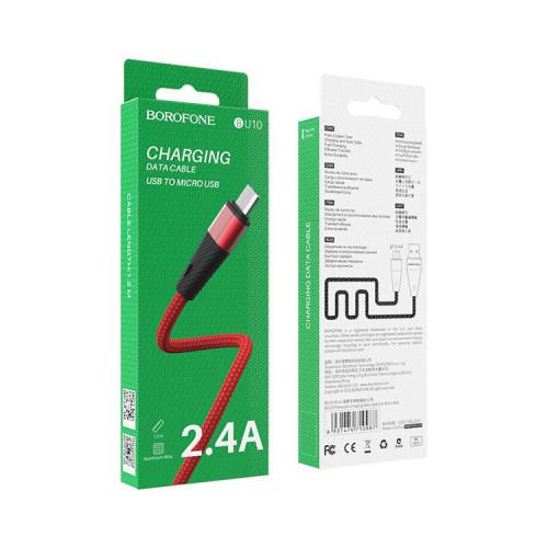 Кабель Micro USB BU10 2.4A красный BOROFONE