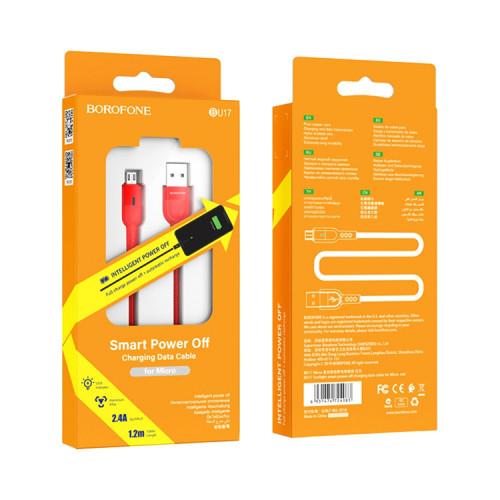 Кабель Micro USB BU17 2.4A красный BOROFONE