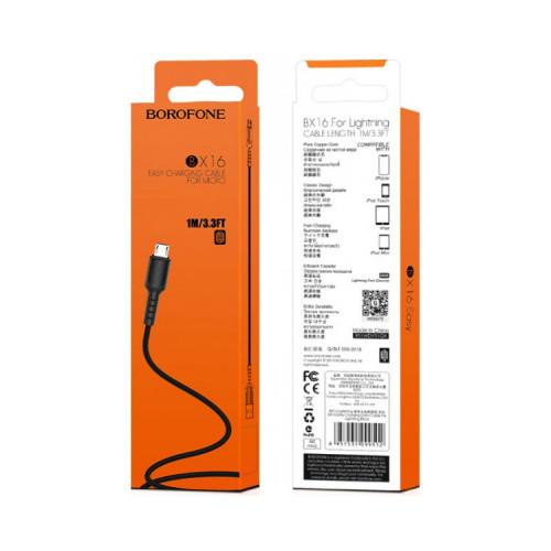 Кабель Micro USB BX16 2.4A черный BOROFONE