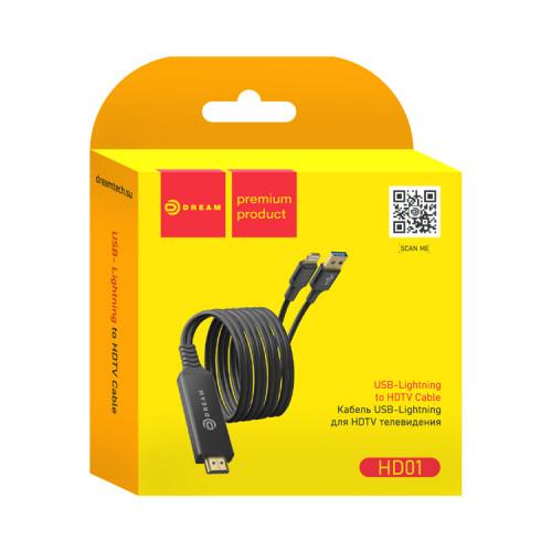 Кабель HDMI - Lightning/USB HD01 2M черный DREAM