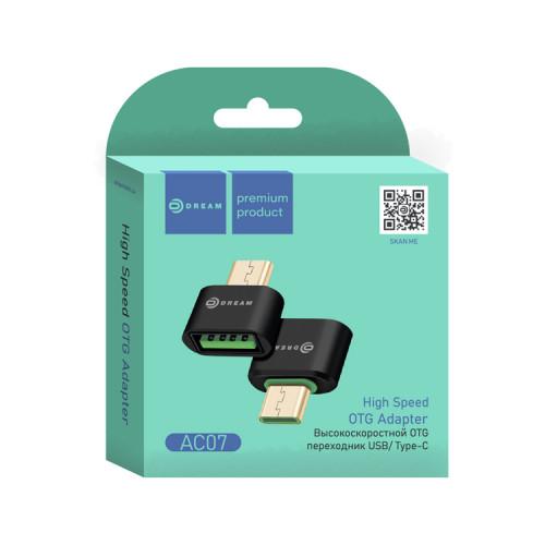 Адаптер OTG AC07 Type-C - USB черный DREAM