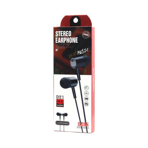 Наушники с микрофоном D21 Stereo черный