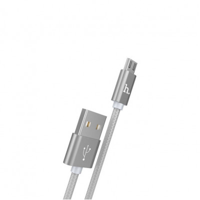 Кабель Micro USB X2 2.4A серый HOCO