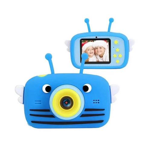 Детский фотоаппарат + чехол пчелка KC600 синий