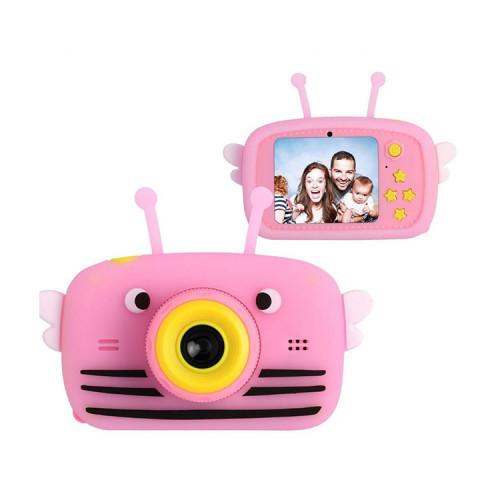 Детский фотоаппарат + чехол пчелка KC600 розовый