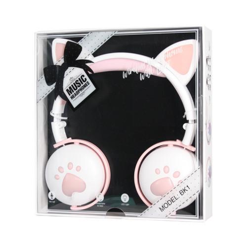 Полноразмерные наушники BT Cat Ear BK1 розово-белый с подсветкой