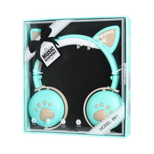Полноразмерные наушники BT Cat Ear BK1 бирюзовый с подсветкой