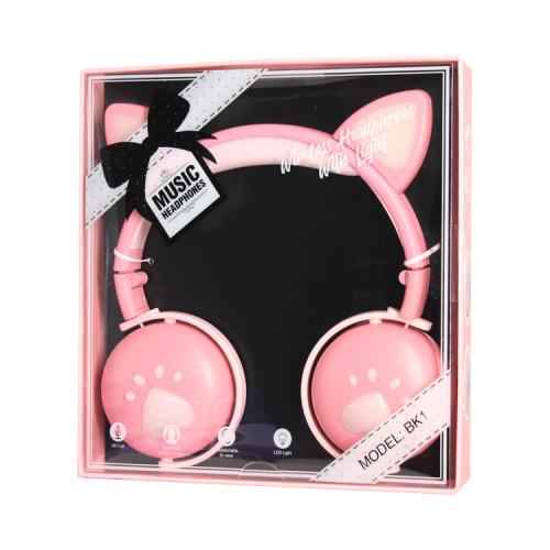Полноразмерные наушники BT Cat Ear BK1 розовый с подсветкой