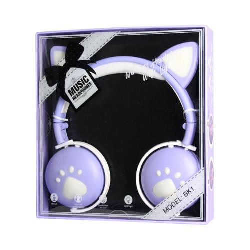 Полноразмерные наушники BT Cat Ear BK1 бело-сиреневый с подсветкой