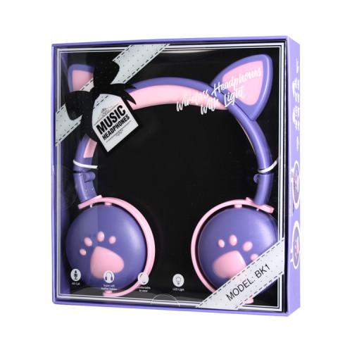 Полноразмерные наушники BT Cat Ear BK1 розово-фиолетовый с подсветкой
