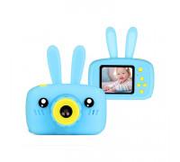 Детский фотоаппарат + чехол зайчик KC600 голубой
