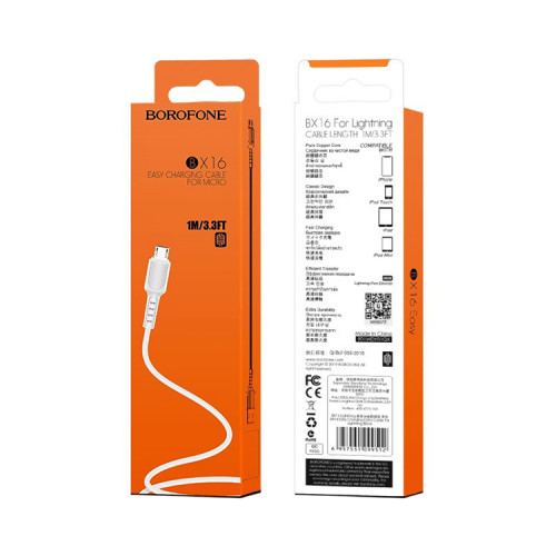 Кабель Micro USB BX16 2.4A белый BOROFONE