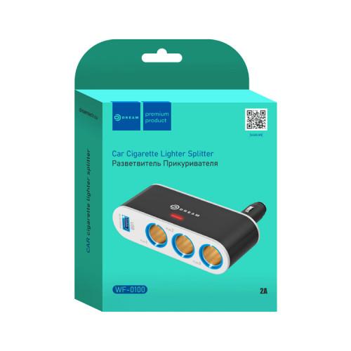 Разветвитель прикуривателя WF-0100 2A (3 гнезда, USB) черный DREAM