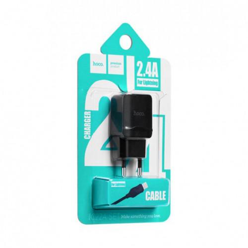 СЗУ 1USB C22A 2.4A + кабель Lightning черный HOCO