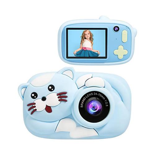 Детский фотоаппарат + чехол котик D8 голубой