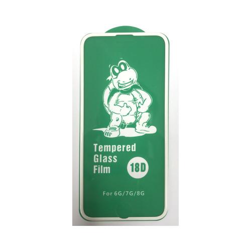 Защитное стекло 18D для Apple iPhone 6/7/8 рамка белый (техпак)