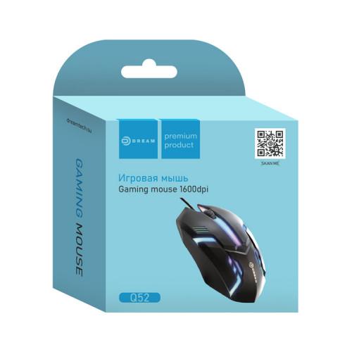 Мышь игровая Q52 (1600 dpi, подсветка) черный DREAM