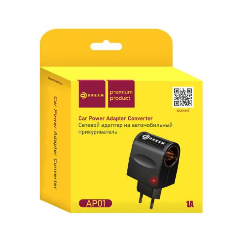 Сетевой адаптер на автомобильный прикуриватель  AP01 220V-12V 1A черный DREAM