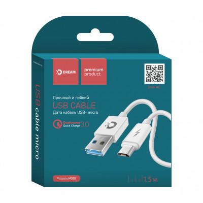Кабель Micro USB MS03 1.5М белый DREAM