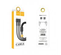 Кабель 3в1 U31 Lightning+Type-C+Micro USB черный HOCO