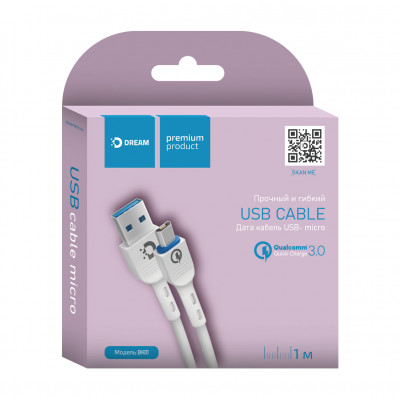 Кабель Micro USB BK01 QC3.0 2.4A 1M белый DREAM
