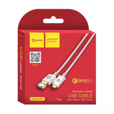Кабель Micro USB BK05 2.1A 1M (60 жил., QC) белый DREAM