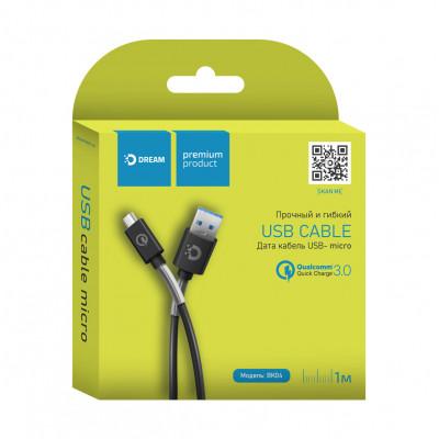 Кабель Micro USB BK04 QC3.0 2.1A 1M черный DREAM
