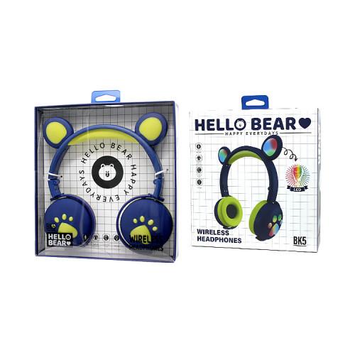 Полноразмерные наушники BT Cat Ear BK5 желто-синий с подсветкой