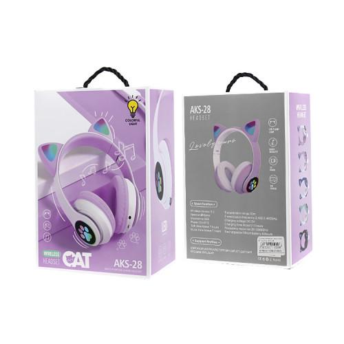 Полноразмерные наушники BT Cat Ear AKS-28 сиреневый с подсветкой