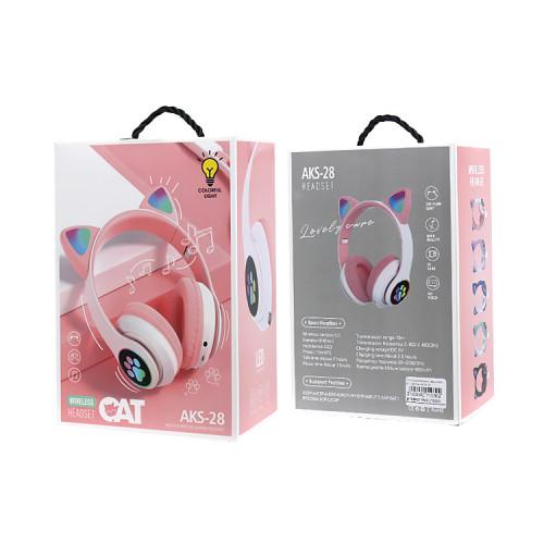 Полноразмерные наушники BT Cat Ear AKS-28 розово-белый с подсветкой
