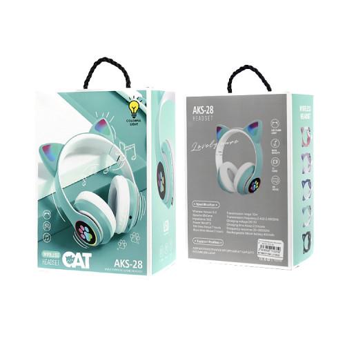 Полноразмерные наушники BT Cat Ear AKS-28 бирюзовый с подсветкой