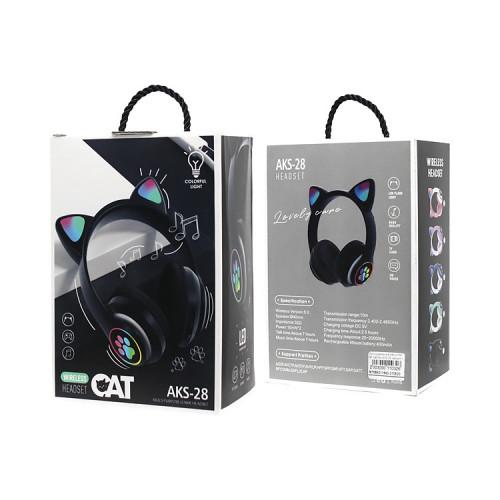 Полноразмерные наушники BT Cat Ear AKS-28 черный с подсветкой