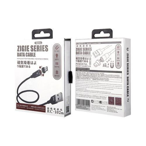 Кабель Micro USB RC-102m 3A Zigie магнитный черный REMAX